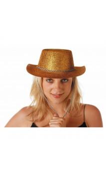 Chapeau cowboy paillette doré