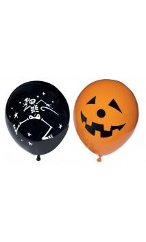 10 Ballons halloween orange et noir