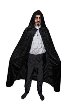 Cape velours noir avec capuche