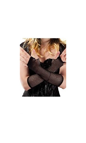 Gants mitaines résille noire pour déguisement en vente