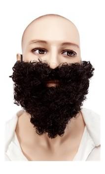 Barbe et moustache frisée noir
