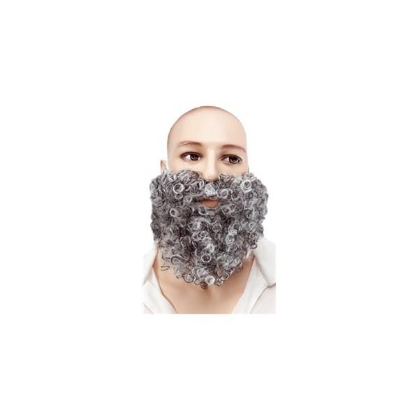 Barbe et moustache frisée gris
