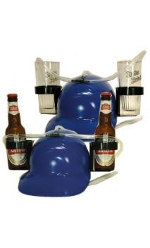 Casque à bière bleu