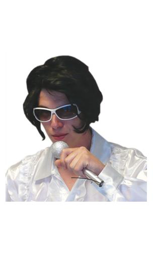 Perruque Elvis avec Lunettes & Micro